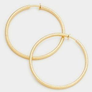 Gold Clip On Hoop Earrings Casual Simple